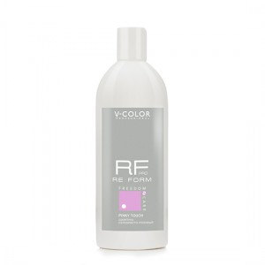 V-COLOR RE FORM Pro Pinky Touch 500мл. Шампунь Серебристо-Розовый для обесцвеченных блондированных и седых волос.