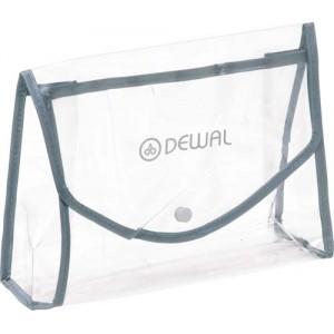Косметичка DEWAL, полимерный материал, прозрачно-серая на кнопке 22х8х16 см арт.P004