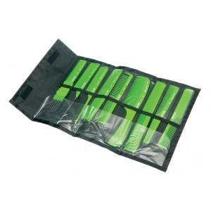 Набор расчесок DEWAL в черном чехле, салатовый, 9 шт арт.CO-9-Light Green