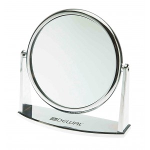 Зеркало настольное DEWAL, пластик, серебристое 18х18,5см арт.MR-425