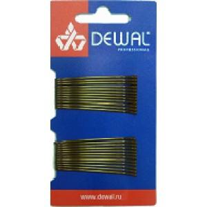 Невидимки DEWAL коричневые, прямые 50 мм, 24шт/уп , на блистере арт.SLN50P-3/24