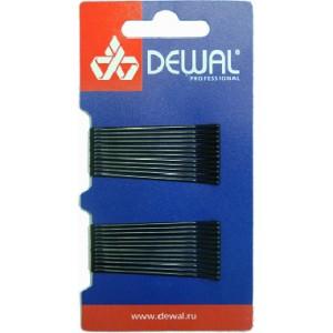 Невидимки DEWAL черные, прямые 50 мм, 24 шт/уп, на блистере арт.SLN50P-1/24
