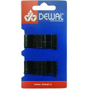 Невидимки DEWAL черные, волна 50 мм, 24шт/уп, на блистере арт.SLN50V-1/24